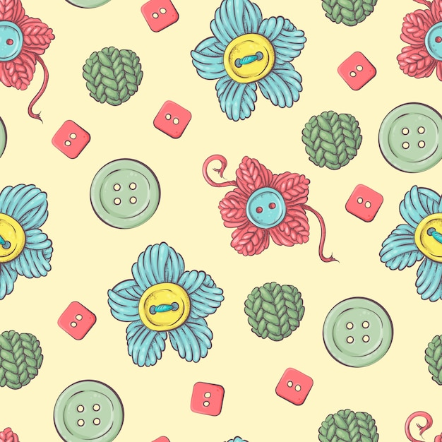 Cute seamless pattern of balls of yarn Premium Vector
