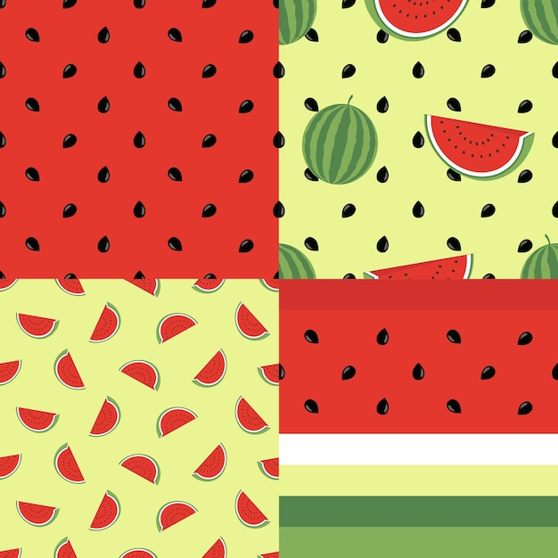 Cute Seamless Pattern Collection With Watermelons Vector Endless