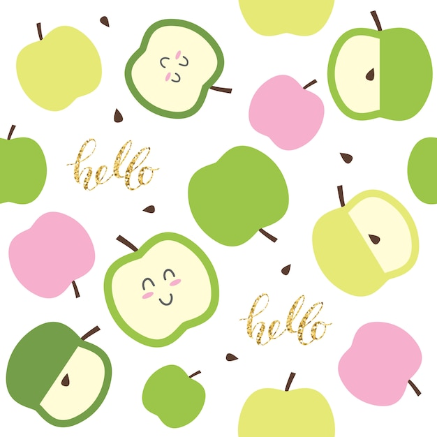 Cute seamless pattern for kids with kawaii apples and glitter elements Premium Vector