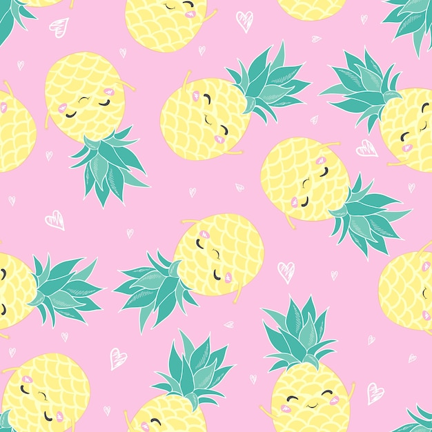 Cute seamless pattern print with pineapples Premium Vector