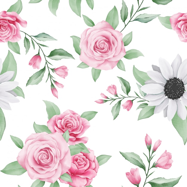 Cute seamless pattern of watercolor floral Premium Vector