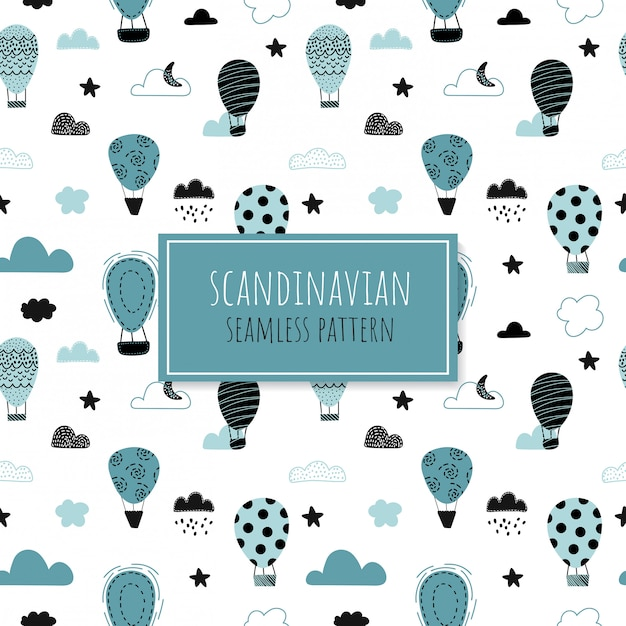 Cute seamless pattern with air balloons. Premium Vector