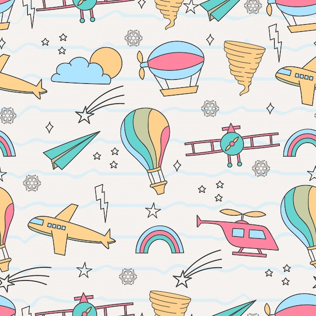 Cute seamless pattern with air transportation Premium Vector