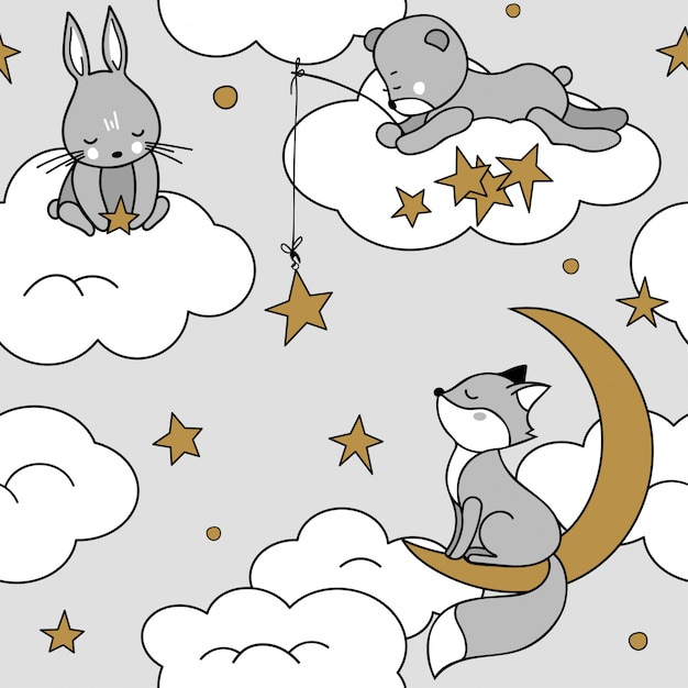 Cute seamless pattern with animals on the clouds. fox, bear, hare. Premium Vector