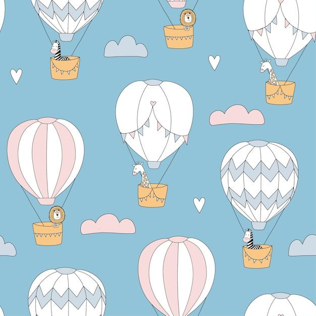風船で動物とかわいいのシームレスなパターン。ライオン、キリン、シマウマ。キッズアパレル、保育園の装飾に最適です。 Premiumベクター