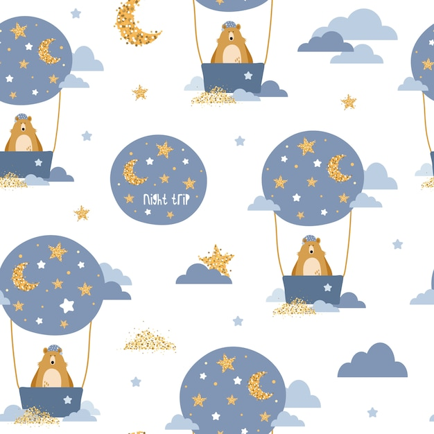 Cute seamless pattern with bears on air balloons Premium Vector