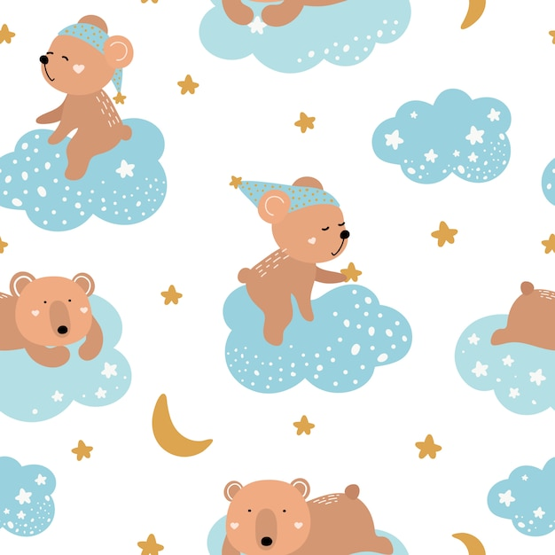 Cute seamless pattern with bears on the clouds Premium Vector