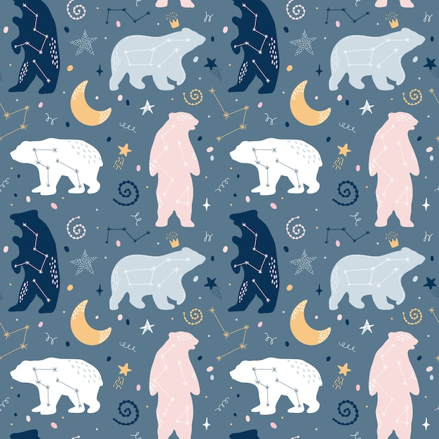 Cute seamless pattern with bears constellations on the sky Premium Vector
