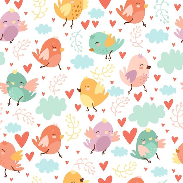 조류와 귀여운 원활한 패턴 무료 벡터