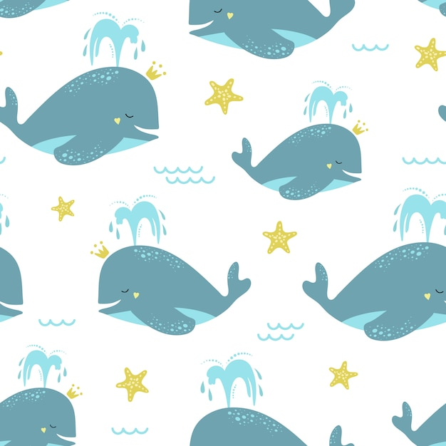 Cute seamless pattern with blue whales and starfish. Premium Vector