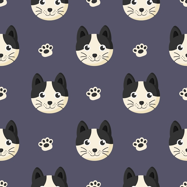 Cute seamless pattern with cartoon baby cat and footprint for kids. animal on purple background. Premium Vector