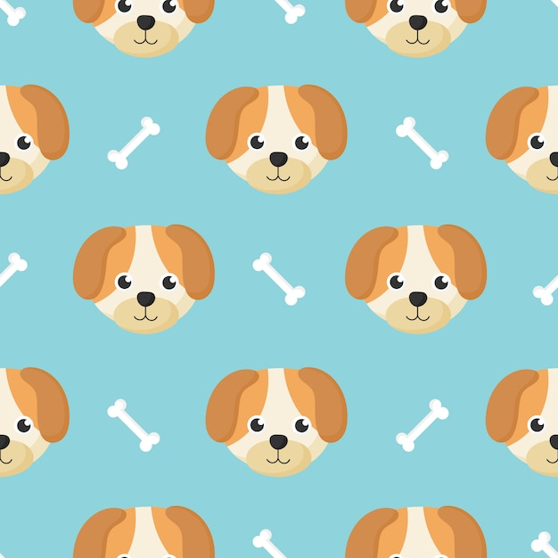 Cute seamless pattern with cartoon baby dog and bone for kids. animal on blue background. Premium Vector