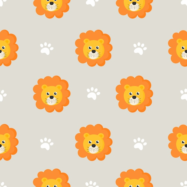Cute seamless pattern with cartoon baby lions for kids. animal on gray background. Premium Vector