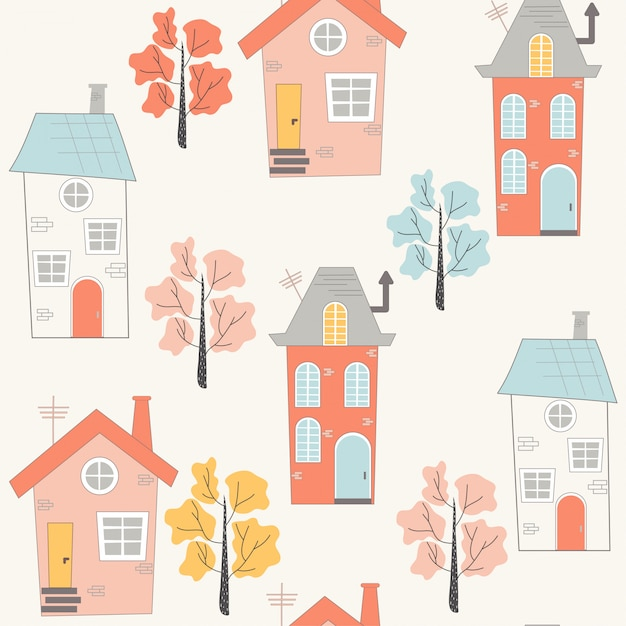 Cute seamless pattern with cartoon style houses Premium Vector