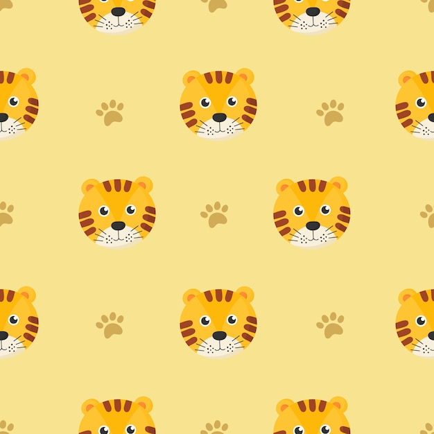 Cute seamless pattern with cartoon tigers for kids. animal on yellow background. Premium Vector