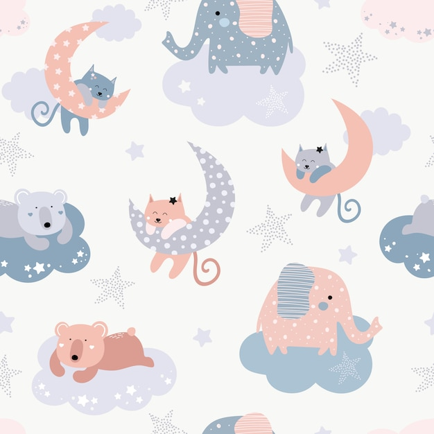 Cute seamless pattern with cats, elephants, bears Premium Vector