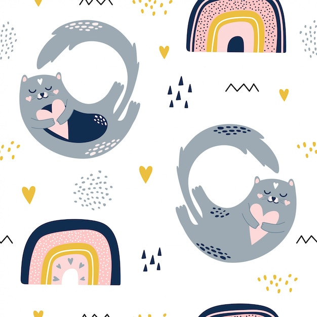 Cute seamless pattern with cats and rainbows. Premium Vector