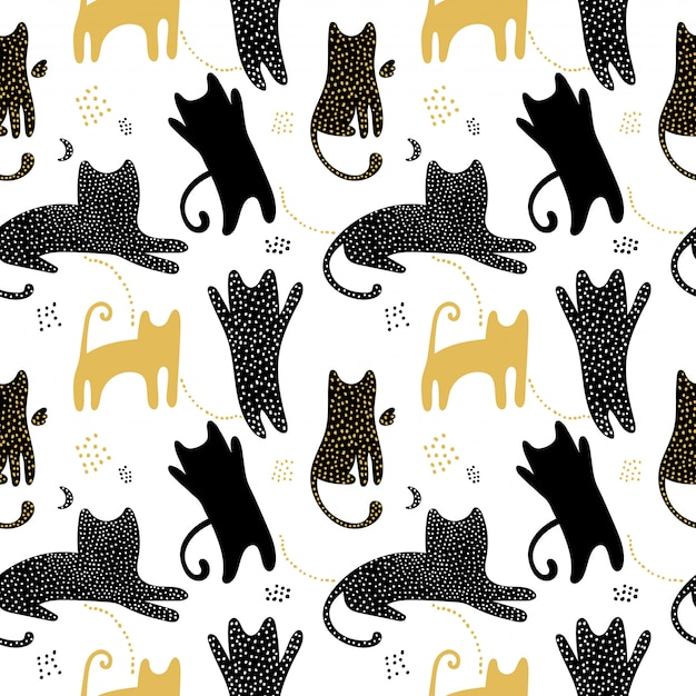 Cute seamless pattern with cats shadows. Premium Vector