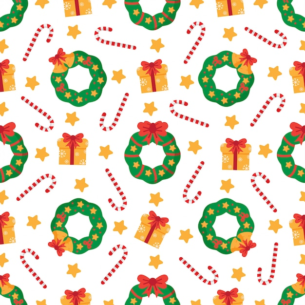 Cute seamless pattern with christmas wreaths and present boxes. Premium Vector