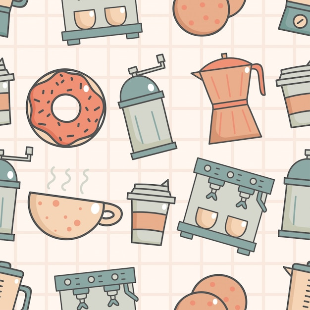 Cute seamless pattern with coffee shop Premium Vector