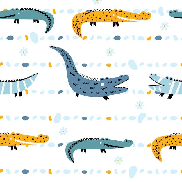 Cute seamless pattern with crocodiles Premium Vector