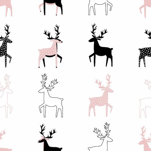 Cute seamless pattern with deers Premium Vector