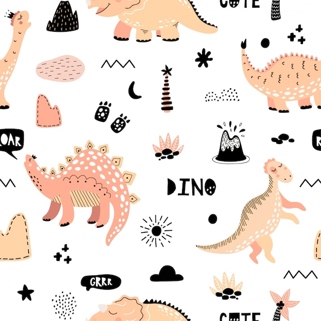 Cute seamless pattern with dinosaurs Premium Vector