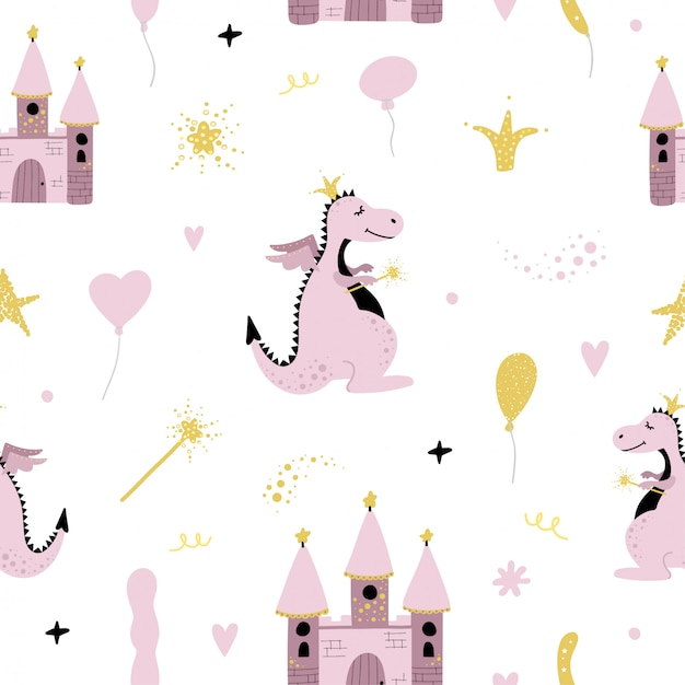 Cute seamless pattern with dragon and castle. Premium Vector