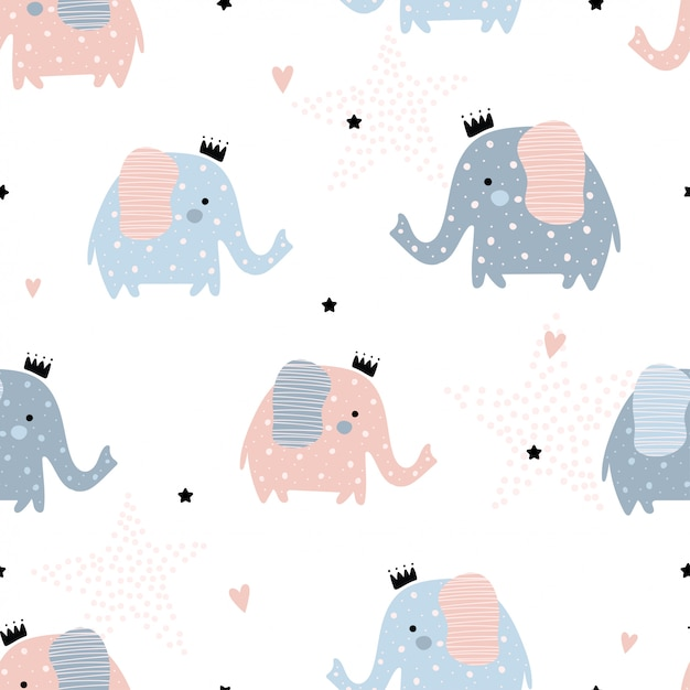 Cute seamless pattern with elephants. Premium Vector