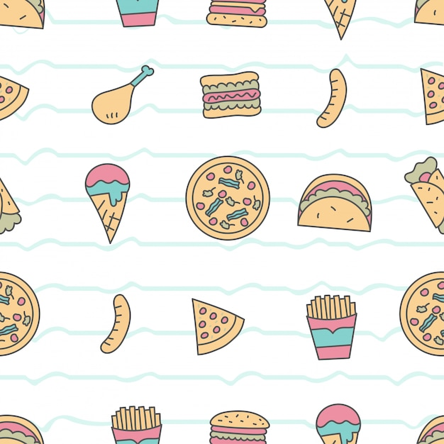 Cute seamless pattern with fastfood Premium Vector