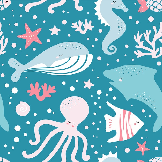 Cute seamless pattern with fish, whale, octopus Premium Vector