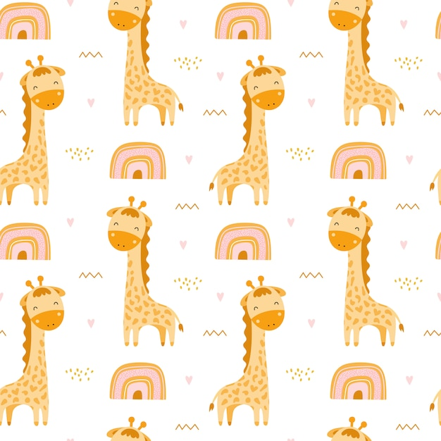 Cute seamless pattern with giraffes and rainbows Premium Vector