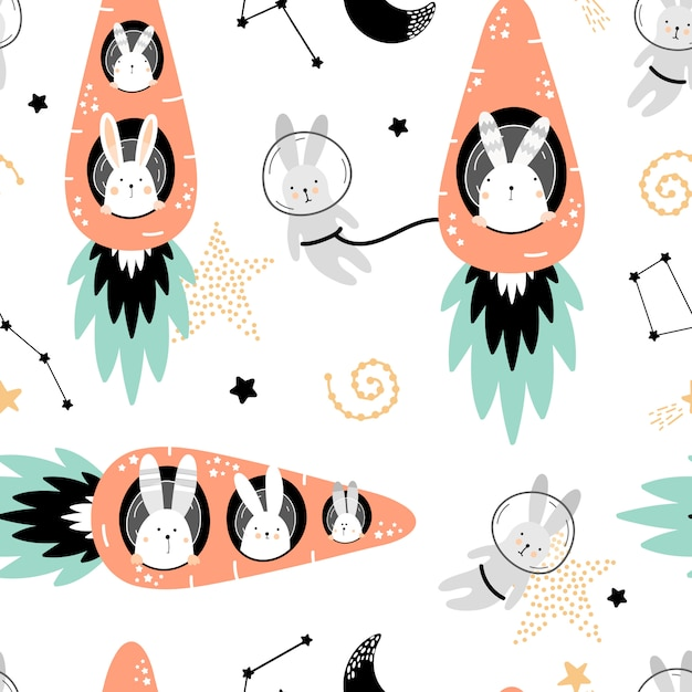 Cute seamless pattern with hares on carrots rockets Premium Vector