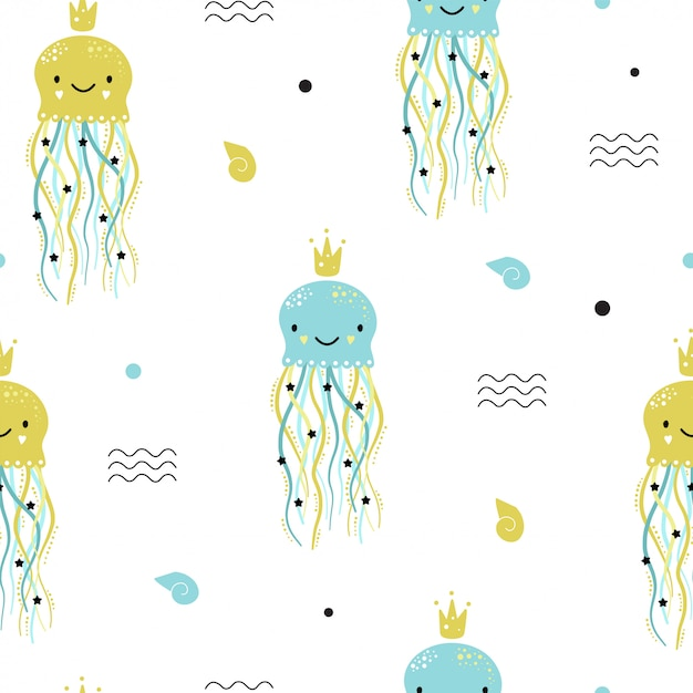 Cute seamless pattern with jellyfish. Premium Vector