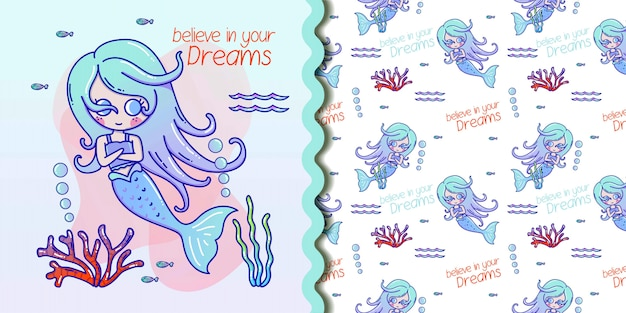 Cute seamless pattern with mermaids and jellyfish. turquoise and coral colors. Premium Vector