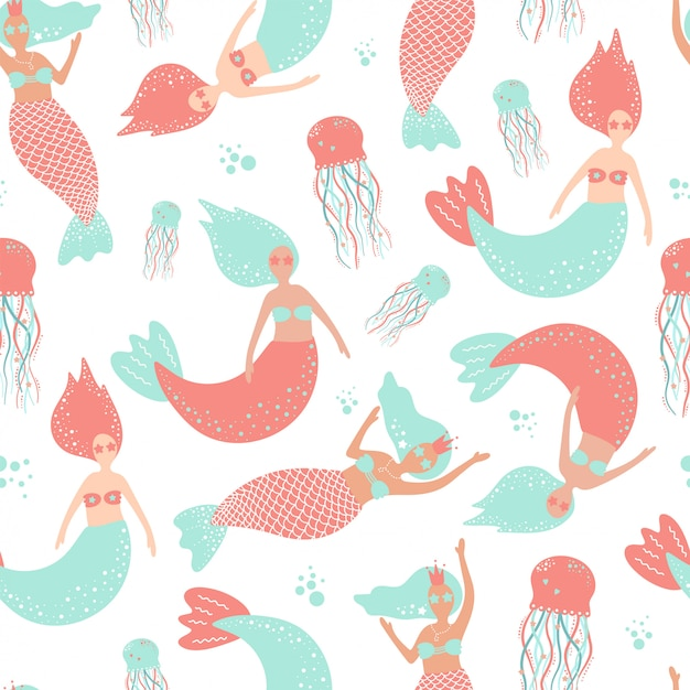 Cute seamless pattern with mermaids and jellyfish. Premium Vector
