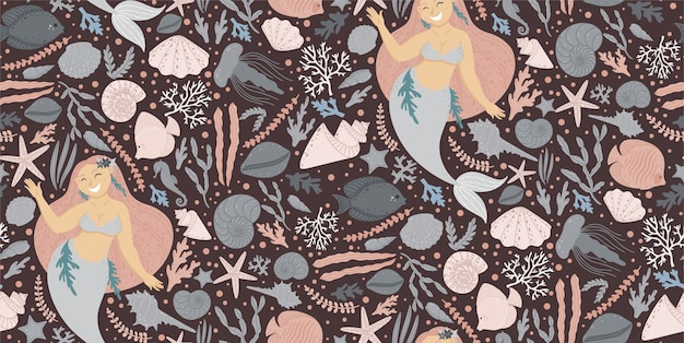 Cute seamless pattern with mermaids Premium Vector
