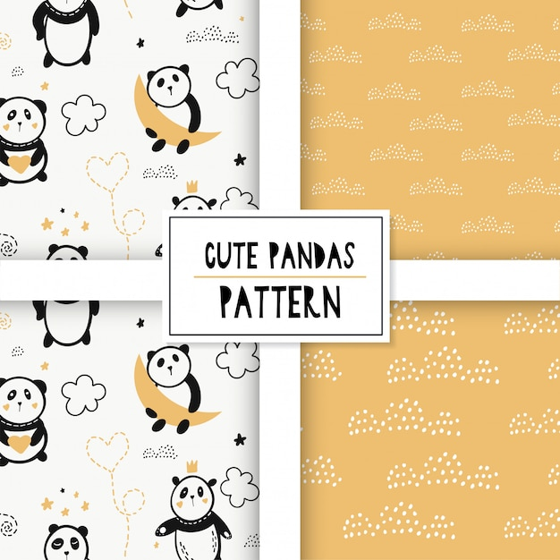 Cute seamless pattern with pandas on the clouds. Premium Vector