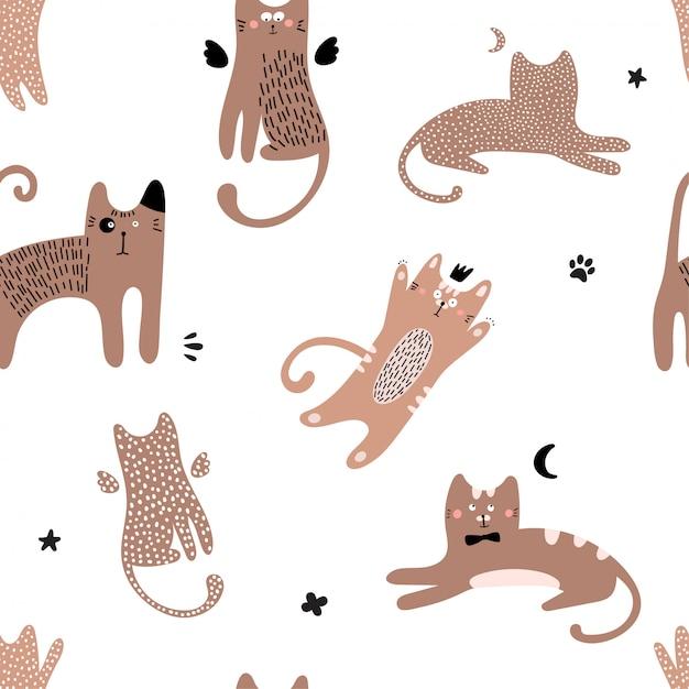 赤猫とかわいいのシームレスパターン。 Premiumベクター