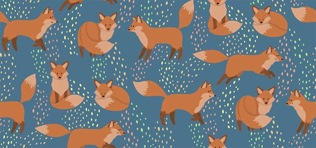 Cute seamless pattern with red foxes. wild nature background for kids print. Premium Vector