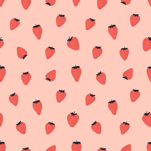 赤いイチゴとかわいいのシームレスパターン Premiumベクター