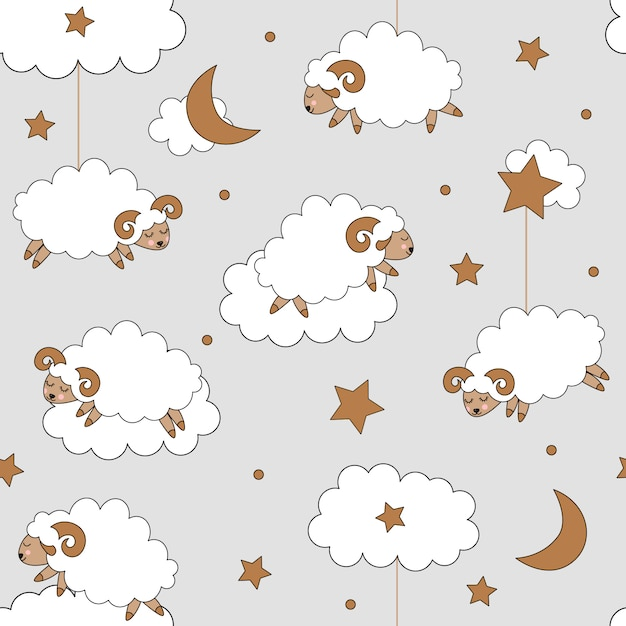 Cute seamless pattern with sheeps Premium Vector