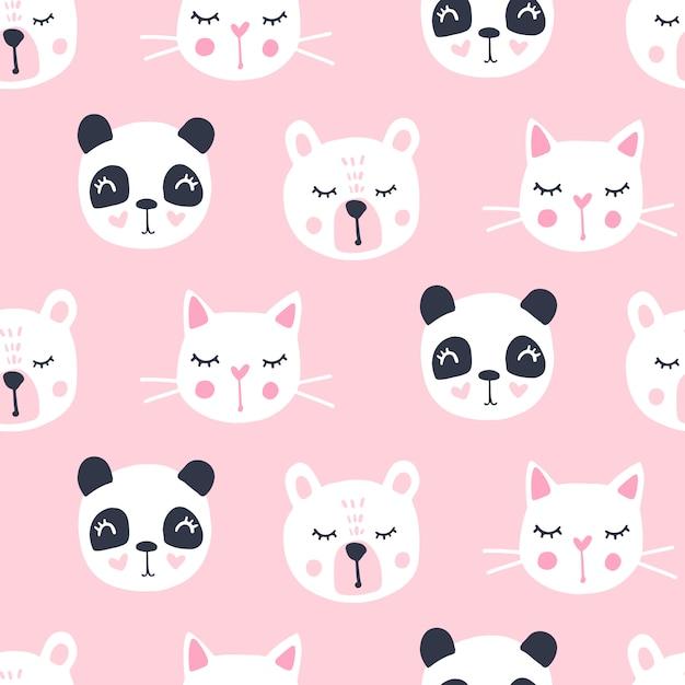 Cute seamless pattern with teddy bear, panda, cat. Premium Vector