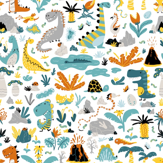 Cute seamless pattern with a variety of dinosaurs Premium Vector