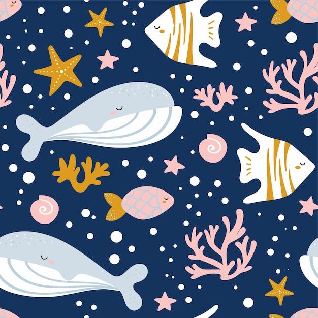 クジラ、イッカク、タコ、クラゲ、ヒトデ、カニとかわいいシームレスパターン。ファブリック、ラッピング、テキスタイル、壁紙、アパレルの創造的な子供のテクスチャです。ベクトルイラスト。 Premiumベクター