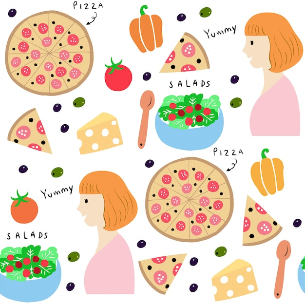 Cute seamless pattern woman and pizza vector. Premium Vector