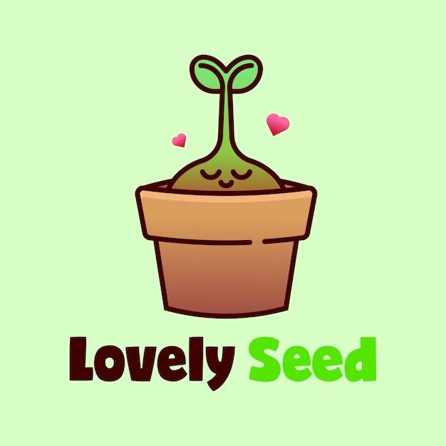 Выращивание семенных растений в логотипе pottery cartoon Premium векторы