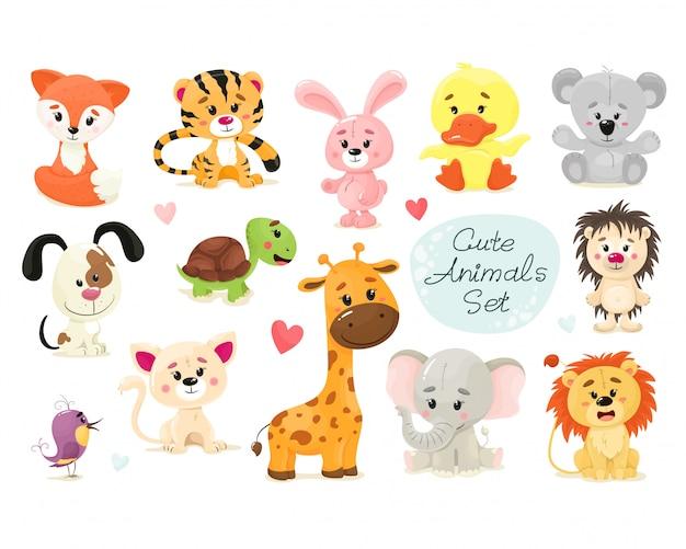 Cute set of animals.  animal isolates in cartoon flat style. white background. Premium Vector
