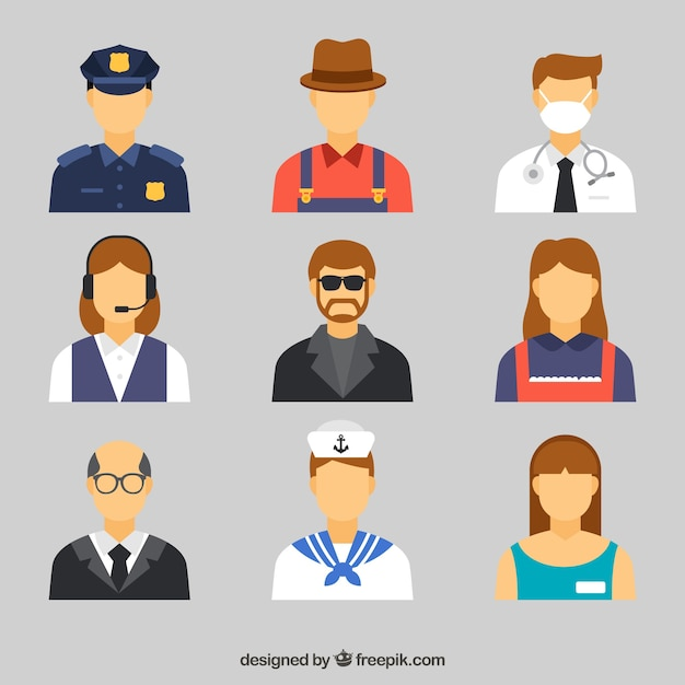 Cute set of avatars with different jobs Free Vector