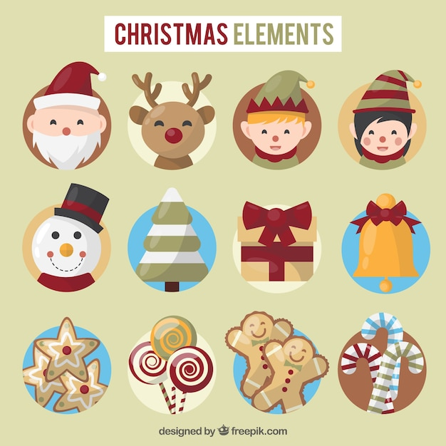 Cute set of christmas elements Free Vector